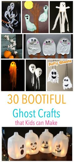 30 BOOtiful Ghost Crafts that kids can make for Halloween. Spooky will never be the same! 30 BOOtiful Ghost Crafts that kids can make for Halloween. Spooky will never be the same! Quick Halloween Crafts, Easy Fall Crafts, Thanksgiving Crafts, Halloween Kids, Halloween Themes, Holiday Crafts, Halloween Decorations, Hallowen Party, Halloween Birthday