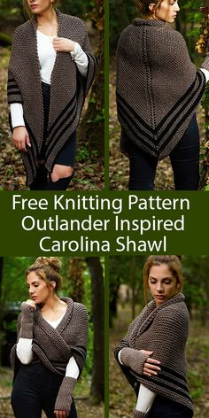Outlander Carolina Shawl Pattern Claire's Carolina Shawl Knitting Pattern - Make a shawl just like Claire wore in Outlander season 4 with this free knitting pattern. Free Knit Shawl Patterns, Outlander Knitting Patterns, Knit Wrap Pattern, Knit Headband Pattern, Loom Knitting, Knitting Stitches, Knitting Designs, Free Knitting, Scarf Patterns