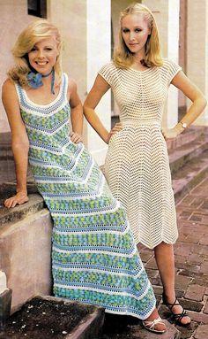 Vintage Crochet Dress Pattern   MAXI Chevron PDF by KinsieWoolShop, $3.20