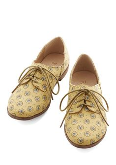 Step Rally Flat in Yellow by Restricted - Low, Woven, Yellow, Print, Menswear Inspired, Vintage Inspired, 20s, Better, Lace Up, Variation, C...