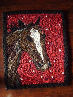 Horse in Paisley hand hooked rug by AccentsByAbby on Etsy