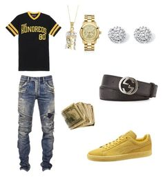 Untitled #10 by charles-luciano on Polyvore featuring polyvore, moda, style, Puma, Michael Kors, Palm Beach Jewelry, The Hundreds, Balmain, Gucci, fashion and clothing