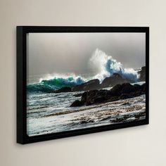 """Red Barrel Studio The Wave, Long Beach Framed Photographic Print Size: 8"""" H x 12"""" W x 2"""" D"""