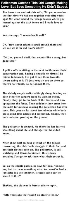 Policeman Catches Old Couple Making Love But He Didn't Expect This... funny jokes story lol funny quote funny quotes funny sayings joke hilarious humor stories funny jokes