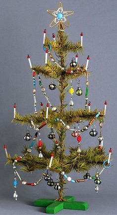 Goose Feather Tree with Glass Candles, original Ornaments and Glass Beads Garland..