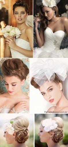 Cabelo de noiva, vários penteados de todos os tipos para todos os gostos!