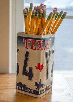 Texas Truck License Plate Pencil Holder - Unique Pencil Cup - Desk Accessories - Office Decor - Desk Organizer - Pen Cup - Pen Holder