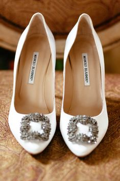 Classic Manolo wedding shoes {Photo by Joel Bedford Photography}