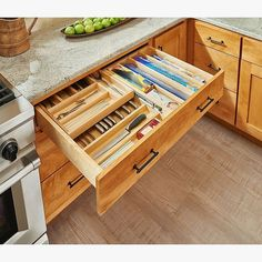 "$471.99 · Rev-A-Shelf - 4Wtcd-36Sc-1 - 33"" Double Tiered Cutlery Drawer With Soft-Close Slides Natural - Double your drawer space with Rev-A-Shelf's 2-Tiered drawer systems. Pre-assembled and ready to install into your existing cabinet drawer. Remove your current drawer and install. Features 2 compartments and BLUMOTION soft-close slide system. #drawers #kitchendesign"