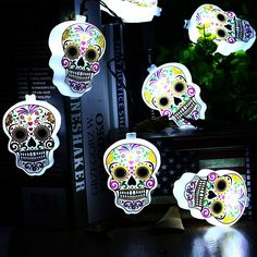 10 LED Battery Powered Halloween String Lights, Fairy Decorative White Crossbones Lights - My Sugar Skulls