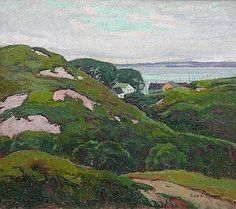"""Cottages on Monhegan Island,"" George Adomeit , ca. 1930, oil on Masonite, 17-1/4 x 19-1/4"", private collection."