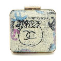 Vintage Chanel Graffiti lame minaudiere ❤ liked on Polyvore featuring white purse, white clutches, white handbags, chanel and chanel handbags