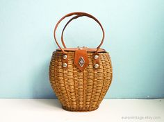 Vintage Woven Wicker & Rope Basket Bag 50s 60s Straw Purse