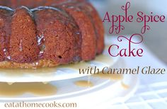 apple spice cake with caramel glaze done