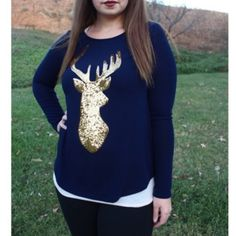 "Navy & Gold Sequin Deer Top Omgoodness this top is just ahhh  Amazing!! So soft and lovely and comfortable and just wonderful!! Available in Navy with gold sequins or Ivory with gold sequins. So lovely!   Please do not buy this listing! Comment below  and I'll create a separate listing for you :)   Price is for one  62% Polyester, 33.5"" Rayon, 4.5"" Spandex   S: 3-5, M: 7-9, L: 11-13  ❌No trades, no PayPal, no holds Instagram: @lovelionessie ⚜www.lovelionessie.com⚜ Gilli Tops Tees - Long…"