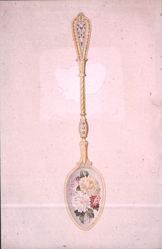 Gustav Gaudernack. Design of coffee spoon, gilt silver with translucent enamel and enamel painting