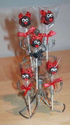 Ladybug Cake Pops by 3E Party Creations for my daughters 3rd b-day