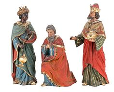 """""""Tres Reyes Magos"""", figuras en madera tallada y policromada"""