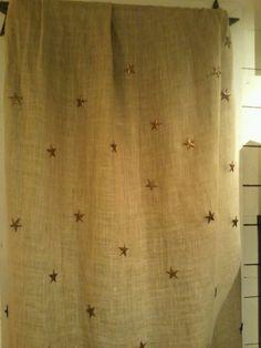 Burlap curtain with stars