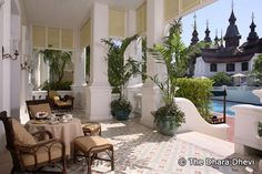 chiang mai real estate lanna interior - Google Search Top Hotels, Hotels And Resorts, Best Hotels, Hotel Lobby Design, Dubai Holidays, Outdoor Pool, Outdoor Decor, Outdoor Living, Most Luxurious Hotels