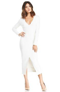 DAILYLOOK Long Sleeve Bodycon Midi Dress in White XS - XL | DAILYLOOK