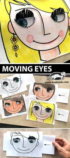 MOVING EYES (krokotak) MOVING EYES You are in the right place about Art Education videos Here we offer you the most beautiful pictures about the Art Education photography you are look Projects For Kids, Diy For Kids, Art Projects, Crafts For Kids, Fun Crafts, Paper Crafts, Arts And Crafts Movement, Classe D'art, Moving Eyes