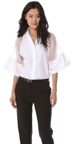 435.00 FREE SHIPPING at shopbop.com. Delicate silk organza forms sheer panels on the wide sleeves of this Jean Paul Gaulter shirt, lending a daring element to a crisp piece.