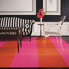 When working with bright colors it is always good to use black and white (or other neutrals) to ground the look.