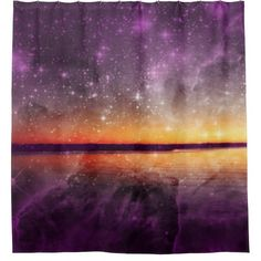 Violet Stars And Sunset Lake Shower Curtain