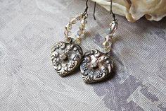 Silver Heart Earrings, Assemblage Jewelry, Romantic Jewelry, Assemblage Earrings, Vintage Assemblage, Recycled Jewelry, OOAK Earrings, Heart