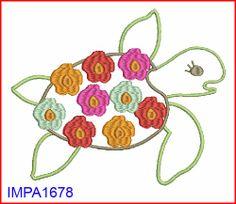 M2MG Floral Reef Sea Turtle Digitized Applique Embroidery Machine Design Pattern 4x4 5x7 6x10. $3.00, via Etsy.