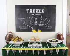 Pinning for table set up idea.Like the yellow trim. Game play chalkboard, use idea for table cloth.