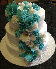 Stunning! ~ Turquoise Roses and Orchids Wedding Cake ~ All edible