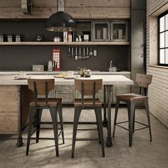 Amisco Station Metal and Wood Counter Stool