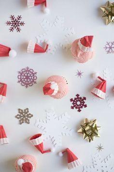 Santa Hat Cupcake Toppers DIY
