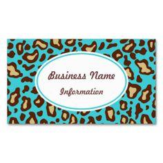 Fun Turquoise Animal Print Business Card