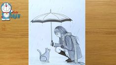 A girl with a cat in rainy day - Pencil Drawing Pencil Sketches Of Girls, Pencil Drawings For Beginners, Pencil Sketch Drawing, Girl Drawing Sketches, Art Drawings Sketches Simple, Amazing Drawings, Mini Drawings, Girly Drawings, Pencil Art Drawings