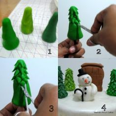 Fondant Christmas Trees and Snowman Tutorial by Veena& Art of Cakes - The Cake Directory - Tutorials Christmas Tree Cake, Christmas Cake Topper, Christmas Cake Decorations, Christmas Baking, Christmas Cookies, Christmas Crafts, Santa Christmas, Fondant Figures, Fondant Tree