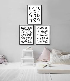 Bare walls in your child's room? Cover them with this Alphabet and Number digital print set of three from KNS Digital. Nursery Prints, Nursery Decor, Nursery Art, Wall Prints, Printable Designs, Printable Art, Kids Bedroom, Boy Bedrooms, Playroom Art