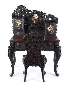 Antique Chinese Furniture, Japanese Furniture, Oriental Furniture, Victorian Furniture, Cool Furniture, Wood Writing Desk, Gothic House, Antique Stores, Beautiful Interiors