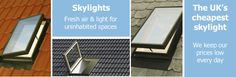 Skylights for lofts and outbuildings. Buy the UK's cheapest skylight.