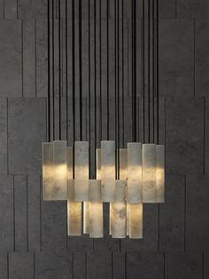Marble pendant lamp SILO by SALVATORI