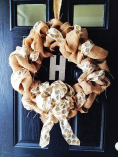 Homemade Fall Wreath with Burlap and polkadot ribbon