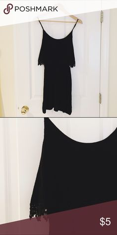 F21- Black embroidered tank swing dress Fits size S-M. Very light and flowy Forever 21 Dresses Mini