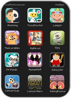Child Life: These are my favorite hospital apps! Visit CraftsToCure.com too see what makes them all so great!