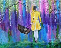 Spring Walk colorful Abstract contemporary landscape painting on sale by ArtbyManjiri on Etsy