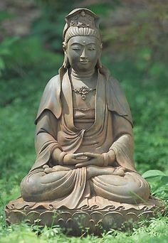 #Kuan Yin, Goddess of Compassion reminds us to be still and calm in our outside space. http://patricialee.me/kuan-yin-goddess-of-compassion/