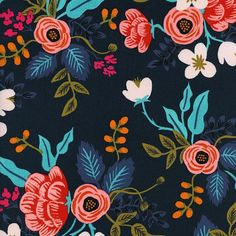 Preorder Birch floral Rayon in Navy from the Les Fleurs collection by Rifle Paper and co for Cotton and Steel