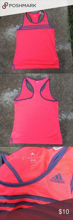 Adidas Climalite Fitness Tank M Great condition, super lightweight mesh fabric. The color is pink-ish orange with gray blue stripes. This is great for running or yoga or anything where you would like to stay cool. I got lots of compliments on the top. I just have too much stuff!  Adidas Tops Tank Tops