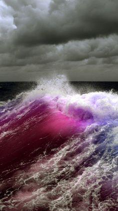 波とピンクオーロラiPhone壁紙 Wallpaper